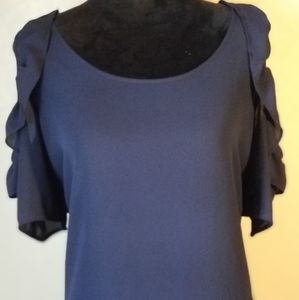 NY Collection Navy Cold Shoulder Ruffled Blouse